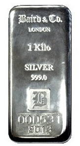 Baird and Co Cast Silver Bar - 1kg