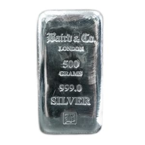 Baird and Co Cast Silver Bar - 1/2kg