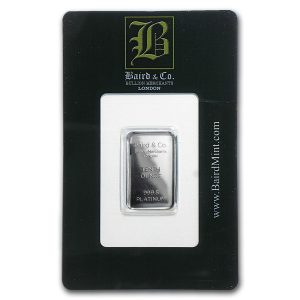 Baird and Co Minted Platinum Bar - 1/10oz