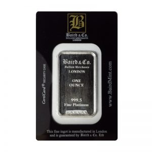Baird and Co Minted Platinum Bar - 1oz