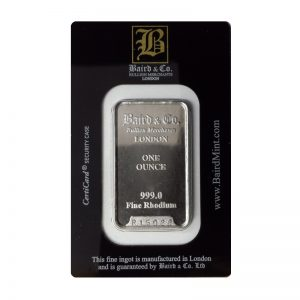 Baird and Co Minted Rhodium Bar - 1oz