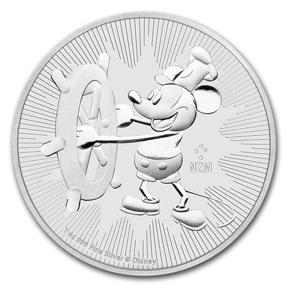 New Zealand Mint 2017 Disney Steamboat Willie Silver Coin - 1oz