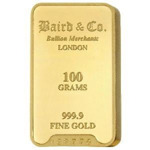 Baird and Co Minted Gold Bar - 100g