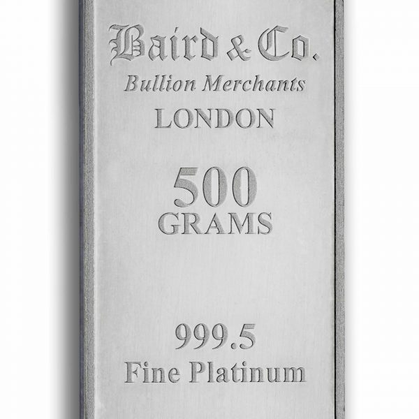 Baird and Co Minted Platinum Bar - 500g