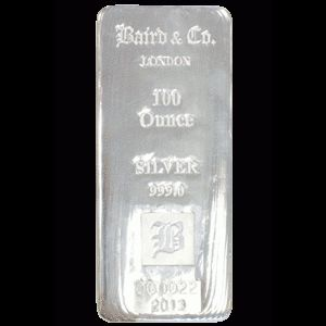 Baird and Co Cast Silver Bar - 100oz
