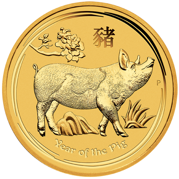 Perth Mint 2019 Lunar Pig Gold Coin - 1/2oz