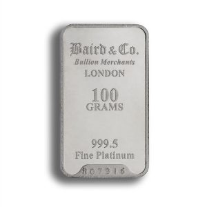 Baird and Co Minted Platinum Bar - 100g