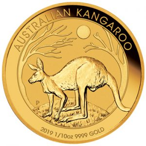 Perth Mint 2019 Kangaroo Gold Coin - 1/10oz