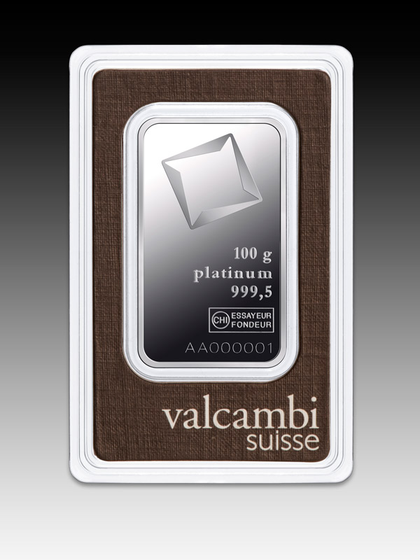 Valcambi Minted Platinum Bar - 100g