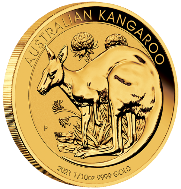 Perth Mint 2021 Kangaroo Gold Coin - 1/10oz